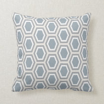 Tortoise Hexagon Pattern Blue Grey Tan White Throw Pillow