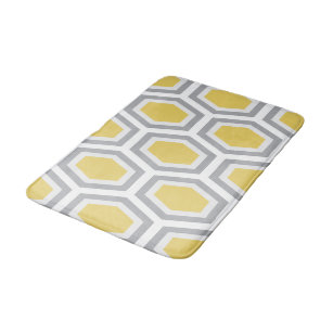 c8c6dd02a3 Tortoise Hexagon Pattern Yellow Grey Bath Mat