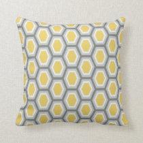 Tortoise Hexagon Pattern Yellow White Grey Throw Pillow