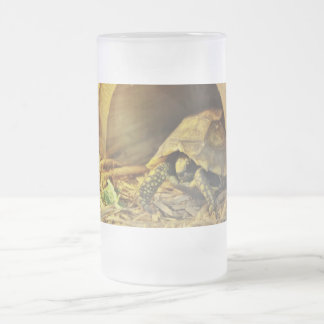 Tortoise hiding in shell 2 16 oz frosted glass beer mug