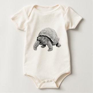 Tortoise line drawing art baby bodysuit