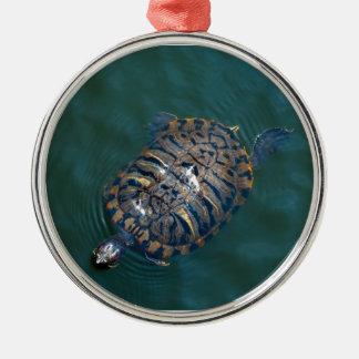 Tortoise Round Metal Christmas Ornament