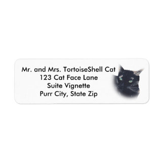 Tortoise Shell Cat Face Address Labels