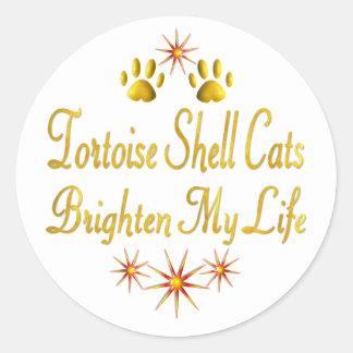 Tortoise Shell Cats Brighten My Life Classic Round Sticker