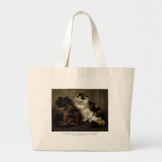 Tortoise Shell Persian Cat and Black Persian Art Jumbo Tote Bag