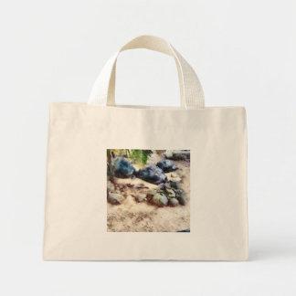 Tortoise snoozing mini tote bag