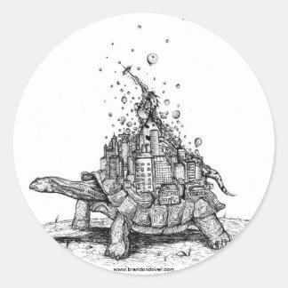 Tortoise Town Sticker:D ( giant tortoise / turtle) Classic Round Sticker