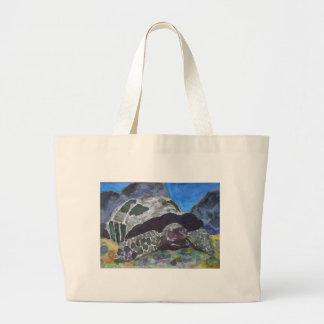 Tortoise turtle aquatic nature via watercolor aceo canvas bag