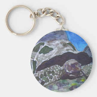 Tortoise turtle aquatic nature via watercolor aceo basic round button keychain