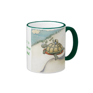 Tortoise with snail in safetybelt coffee mugs