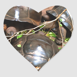 Tortoises at rest heart sticker