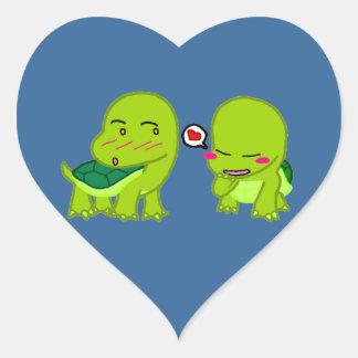 tortoises in luv heart sticker