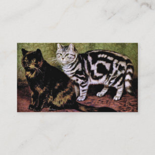 tortoiseshell and silver tabby cats business card - Shell Small Business Card