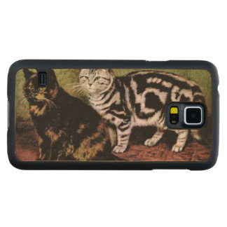 Tortoiseshell and Silver Tabby Cats Carved Maple Galaxy S5 Case