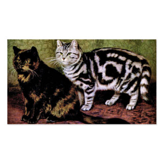 Tortoiseshell and Silver Tabby Cats Double-Sided Standard Business Cards (Pack Of 100)