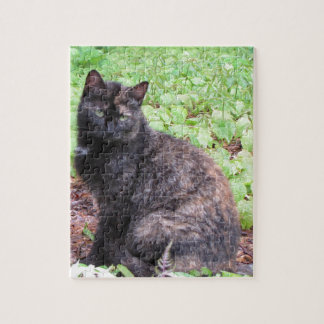 Tortoiseshell Black Cat Garden Jigsaw Puzzles