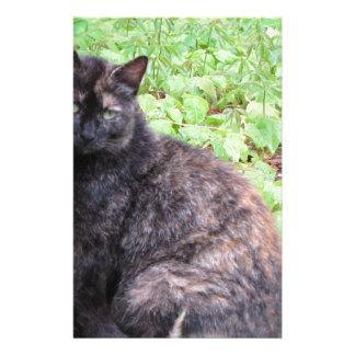 Tortoiseshell Black Cat Garden Personalized Stationery