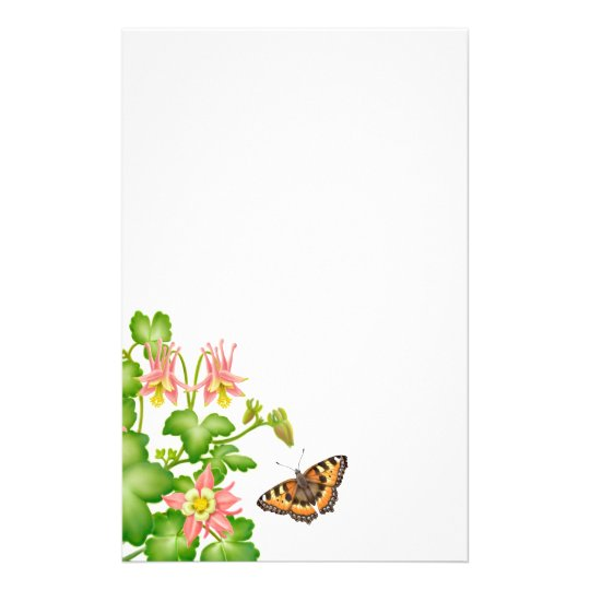 Tortoiseshell Butterfly Floral Stationery