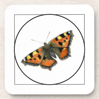 Tortoiseshell Butterfly Watercolor Painting Beverage Coaster