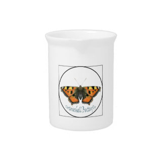 Tortoiseshell Butterfly Watercolour Painting Beverage Pitcher