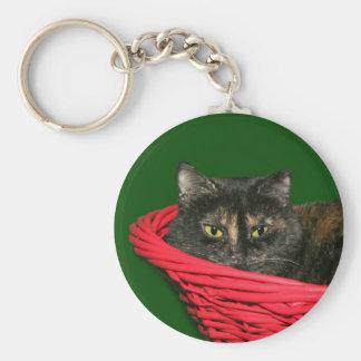 Tortoiseshell cat Christmas Keychain
