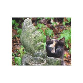 Tortoiseshell cat & Garden Gnome Canvas Print