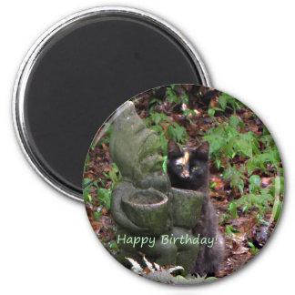 Tortoiseshell Cat HAPPY BIRTHDAY 2 Inch Round Magnet