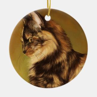 Tortoiseshell cat painting christmas tree ornaments