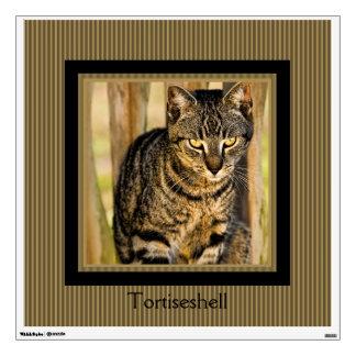 Tortoiseshell Cat Portrait, Closeup Animal Photo Wall Decal