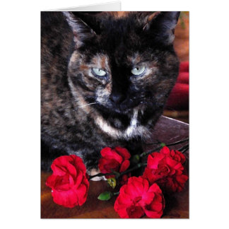 Tortoiseshell Cat with Red Flowers Card