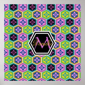 Tortoiseshell Honeycomb Colorful Japanese Kikkou Poster