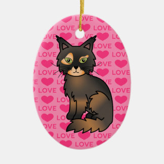 Tortoiseshell Maine Coon Love Ceramic Ornament