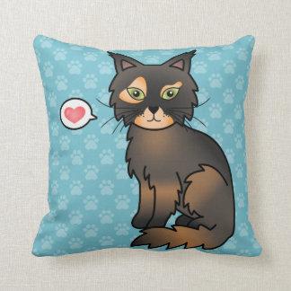 Tortoiseshell Maine Coon Love Throw Pillows