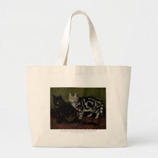 Tortoiseshell Tom and Gray Tabby Cat Artwork Jumbo Tote Bag