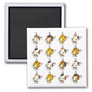 Tortoiseshells , tabby cats (三毛猫) 2 inch square magnet