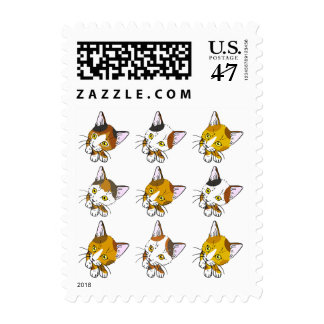Tortoiseshells , tabby cats (三毛猫) postage stamp