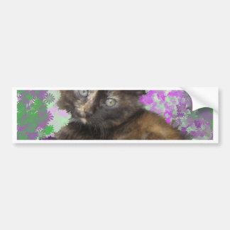 Tortoisshell Kitten in Gree and Purple Flowers Car Bumper Sticker