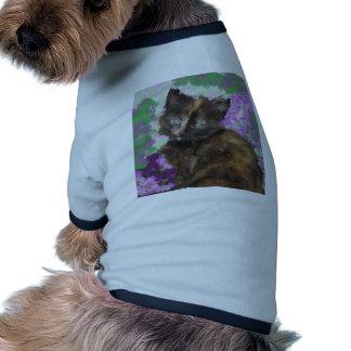 Tortoisshell Kitten in Gree and Purple Flowers Dog T Shirt