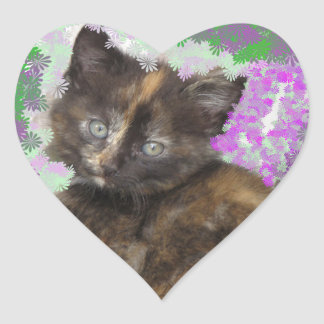 Tortoisshell Kitten in Gree and Purple Flowers Heart Sticker