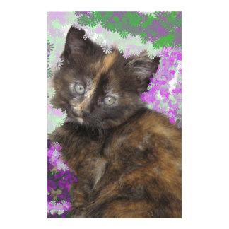 Tortoisshell Kitten in Gree and Purple Flowers Customized Stationery