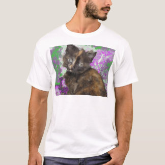 Tortoisshell Kitten in Gree and Purple Flowers T-Shirt