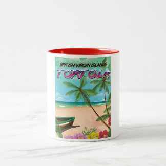Tortola British virgin islands travel poster Two-Tone Coffee Mug