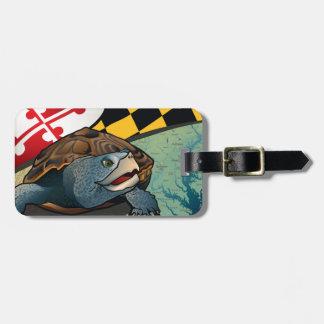Tortuga acuática del ciudadano, la tortuga de etiquetas maletas