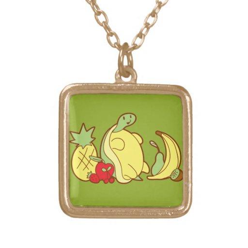 Tortuga adorable de la fruta colgante cuadrado