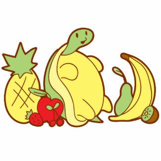 Tortuga adorable de la fruta fotoescultura vertical