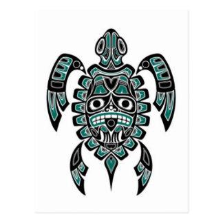Tortuga azul y negra del trullo del Haida del alco Postales