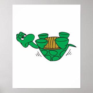 tortuga caida divertida póster
