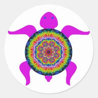 Tortuga caleidoscópica de la mandala de la pegatina redonda