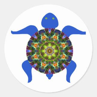 Tortuga caleidoscópica Design.8 de la mandala Etiquetas Redondas