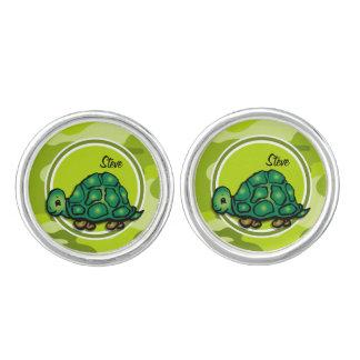 Tortuga; camo verde claro, camuflaje mancuernillas